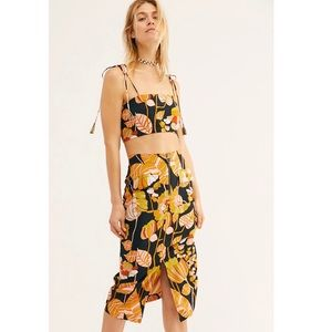 Free People Bold Colorful Print Crop Top Skirt Set